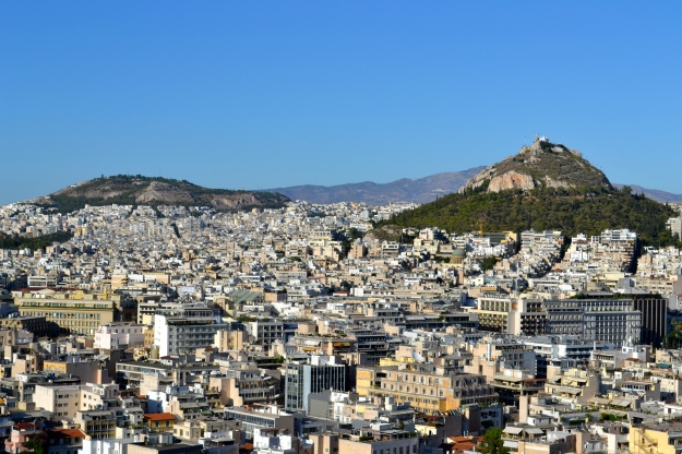 View from the top of the Acropolis Hill, Athens, Greece