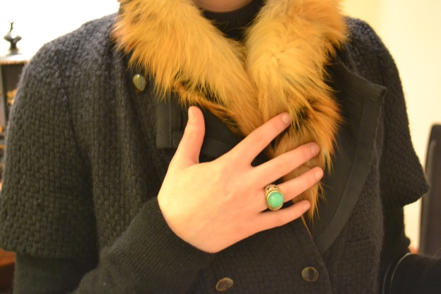 Roberto Cavalli Fur, Uniqlo Cashmere, Claudie Pierlot Jacket, Ring: London Fashion Weekend